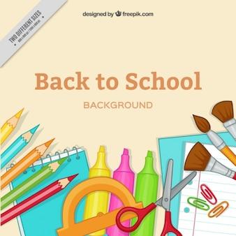 Arrière-plan avec des articles pour retourner à l'école