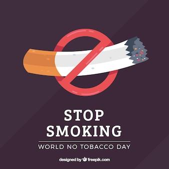 Arrière-plan avec la cigarette et le symbole d'interdiction