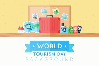 Arrière-plan de bagages prêts pour le jour du tourisme