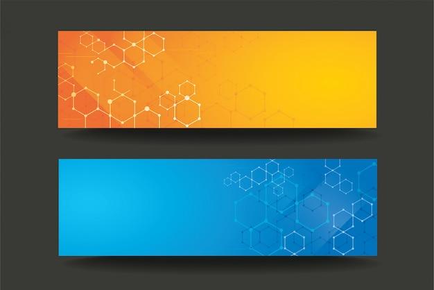 Arrière-plan de bannière modèle moderne ligne hexagone