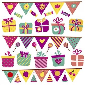 Arrière-plan avec des bonbons et des cadeaux