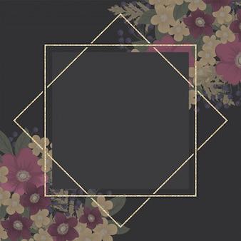 Arrière-plan de bordure florale - fleur rose chaud