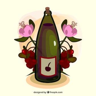 Arrière-plan avec une bouteille de vin et des fleurs