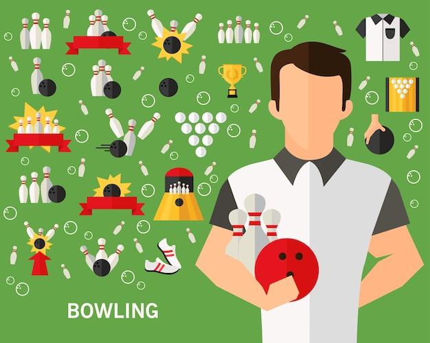 Arrière-plan de bowling. icônes plates