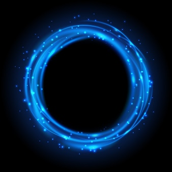 Arrière-plan brillant bleu rond