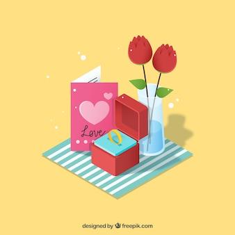 Arrière-plan avec des cadeaux romantiques et anneau d'enclenchement