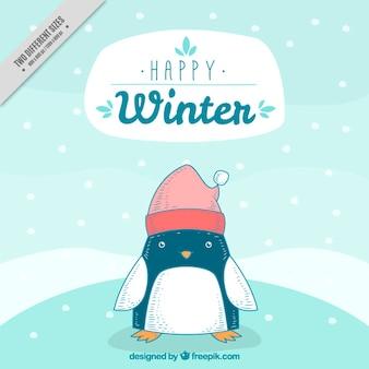 Arrière-plan de caractère agréable de pingouin avec le chapeau