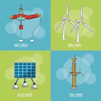 Arrière-plan carré multicolore avec le type d'énergie renouvelable