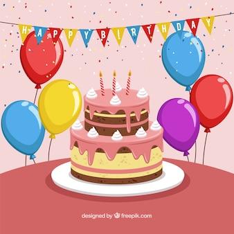 Arrière-plan coloré anniversaire avec deisng plat