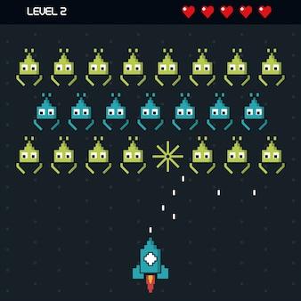 Arrière-plan coloré du jeu spatial niveau deux