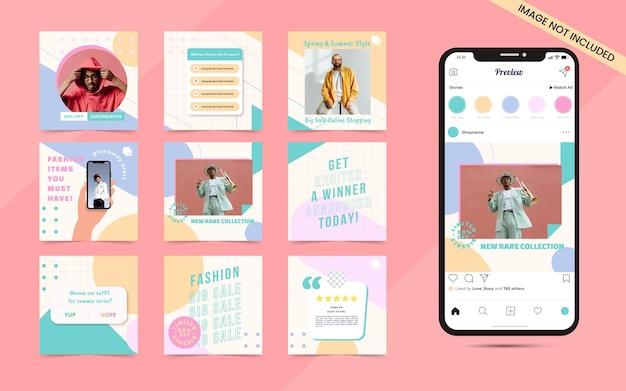 Arrière-plan coloré de forme organique abstraite transparente pour l'ensemble de publication de carrousel de médias sociaux de promotion de blog de bannière de vente de mode instagram