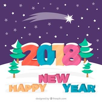 Arrière-plan coloré nouvel an avec une étoile filante