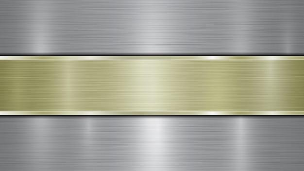 Arrière-plan composé d'une surface métallique brillante argentée et d'une plaque dorée horizontale polie située au centre, avec une texture métallique, des reflets et des bords brunis