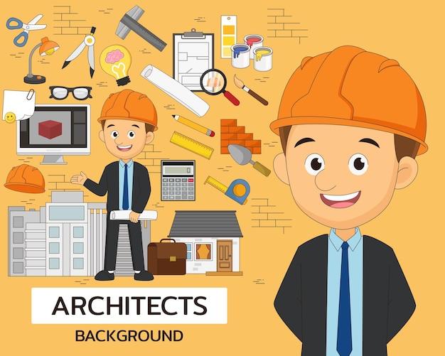 Arrière-plan de concept d'architectes. icônes plates.
