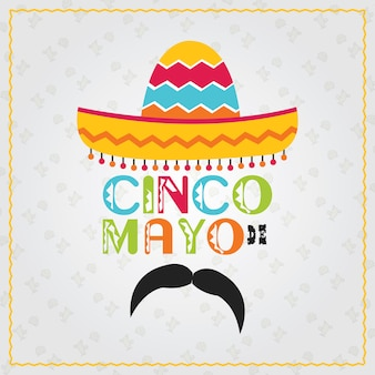 Arrière-plan de conception affiche multicolores de vacances de cinco de mayo