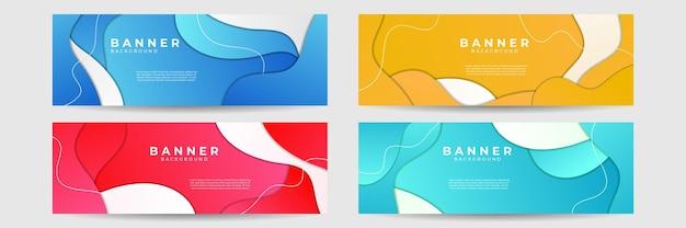 Arrière-plan de conception de bannière abstraite moderne coloré bleu rouge vert orange. illustration vectorielle pour les entreprises, modèle de médias sociaux, vente, site web, page de destination, affiches, couverture