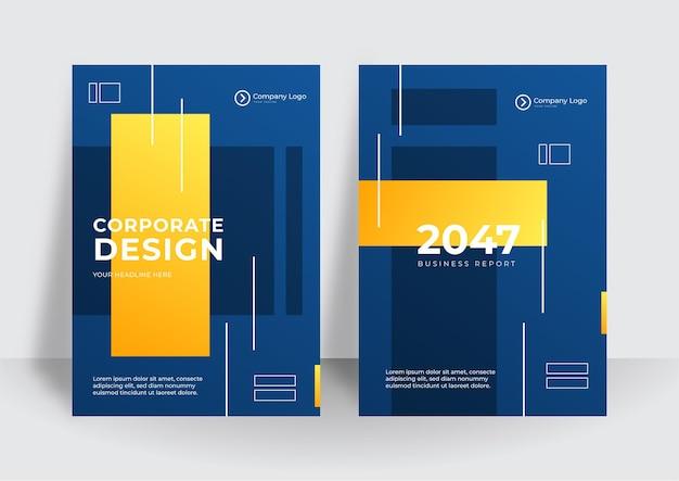 Arrière-plan de conception de couverture d'entreprise entreprise jaune bleu moderne. couvertures contemporaines numériques bleues, modèles, affiches, brochures, bannières, dépliants. conception abstraite de la technologie futuriste minimale