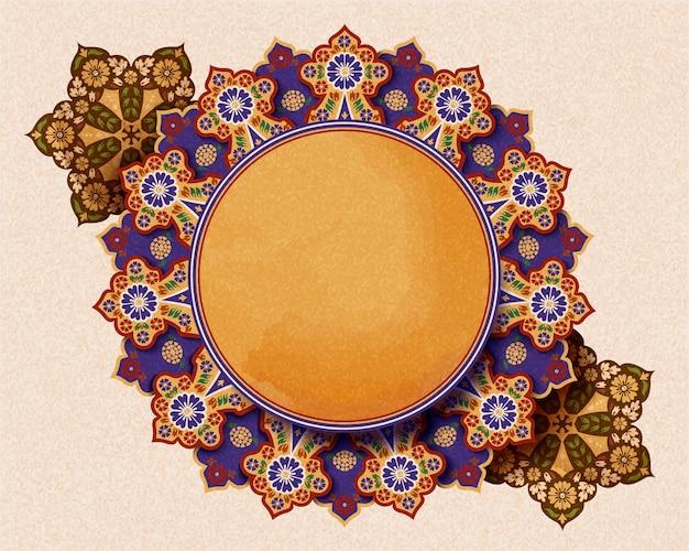Arrière-plan de conception de fleurs arabesque rétro en jaune et violet