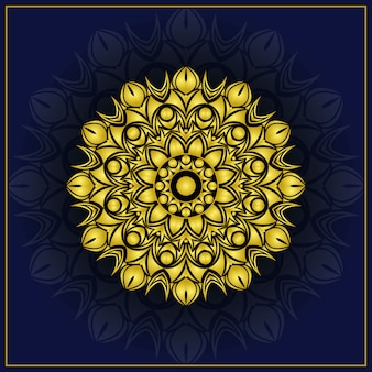 Arrière-plan de conception de luxe mandala ornemental avec couleur dorée