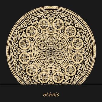 Arrière-plan de conception de luxe mandala ornemental, henné sur fond noir