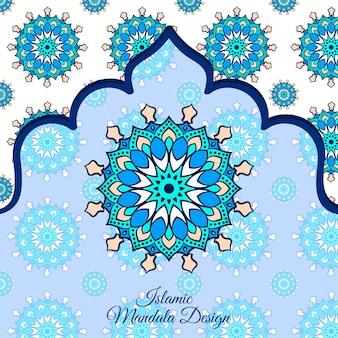 Arrière-plan de conception de mandala ornemental de luxe islamique en couleur bleue