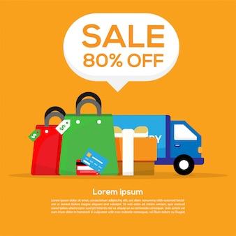 Arrière-plan de conception de modèle de bannière vente gros promo