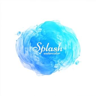 Arrière-plan de conception splash aquarelle bleu dessiné à la main
