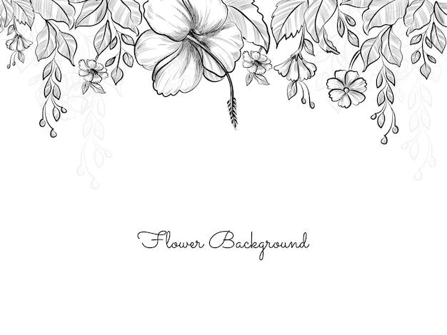 Arrière-plan de conception de style croquis fleur dessiné main