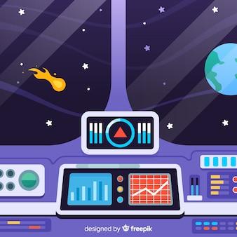 Arrière-plan de conception de vaisseau spatial intérieur avec deisgn plat