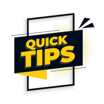 Arrière-plan de conseils de conseils utiles rapides