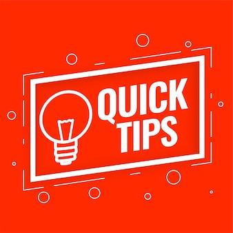 Arrière-plan de conseils rapides pour des astuces et des conseils utiles