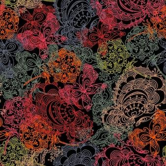 Arrière-plan avec des contours de fleurs et de papillons