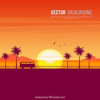 Arrière-plan de coucher du soleil silhouettes sur la plage