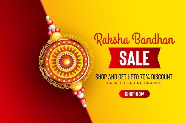 Arrière-plan créatif avec rakhi décoré pour le festival de vente de raksha bandhan des sœurs et frères