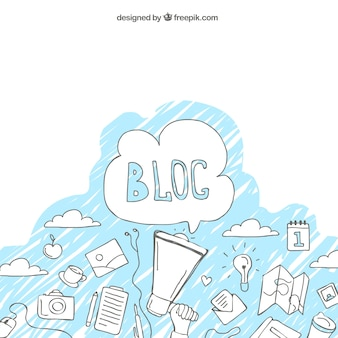 Arrière-plan avec des croquis de blogue