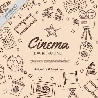 Arrière-plan avec des croquis d'éléments traditionnels de film