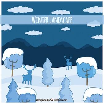 Arrière-plan de paysage enneigé avec des arbres et des rennes dessinés à la main