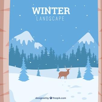 Arrière-plan de paysage montagneux enneigé avec des rennes