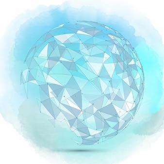 Arrière-plan de sphère abstraite sur une texture aquarelle