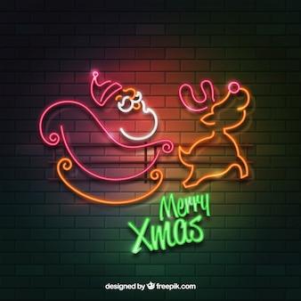 Arrière-plan de style réaliste avec des lumières de Noël sur un mur de briques