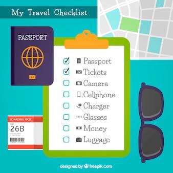 Arrière-plan décoratif avec liste de contrôle voyage