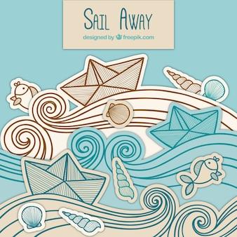 Arrière-plan des bateaux en papier avec des vagues dessinées à la main