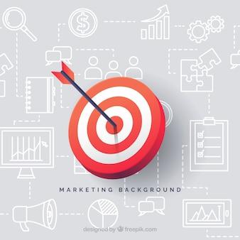 Arrière-plan des éléments de marketing avec fléchettes