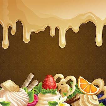 Arrière-plan avec des desserts