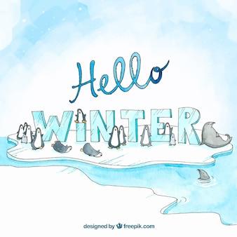 Arrière-plan dessiné à la main bonjour hiver avec des pingouins