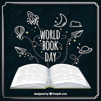 Arrière-plan dessiné à la main pour la journée du livre mondial