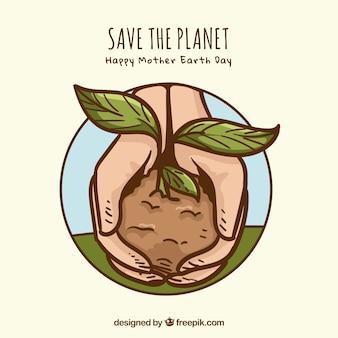 Arrière-plan dessiné à la main sauver la planète