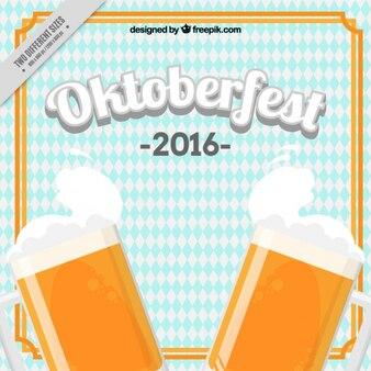 Arrière-plan avec deux bières pour oktoberfest