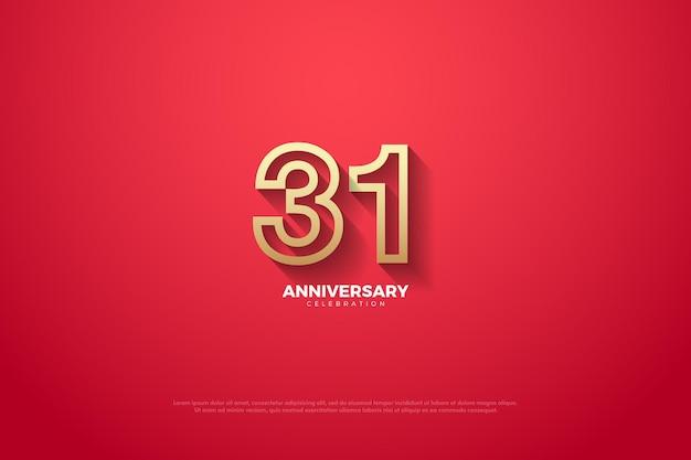 Arrière-plan du 31e anniversaire avec des numéros de caractères spéciaux