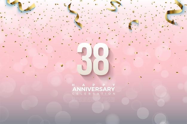 Arrière-plan du 38e anniversaire avec des chiffres et des rubans d'or dessus